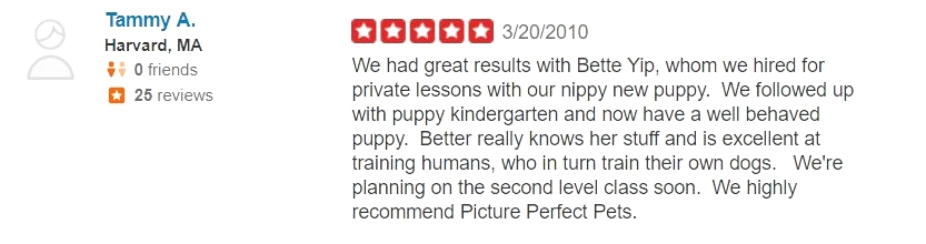 What kind of dog trainer is Bette Yip? See what previous students say! Private Dog Training